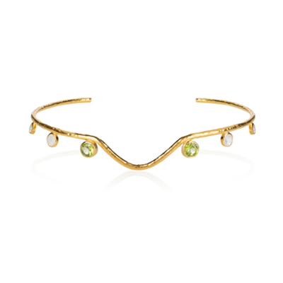 V Dip Choker with Stones - 481